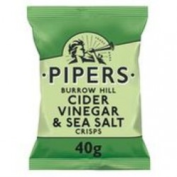 Pipers Burrow Hill Cider Vinegar & Sea Salt Crisps 24 x 40g