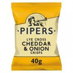 Pipers Lye Cross Cheddar & Onion Crisps 24 x 40g