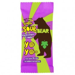 Bear Yoyo Super Sour Blackcurrant & Apple Fruit Rolls 18 x 20g