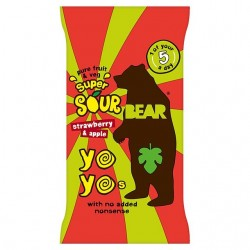 Bear Yoyo Super Sour Strawberry & Apple Fruit Rolls 18 x 20g