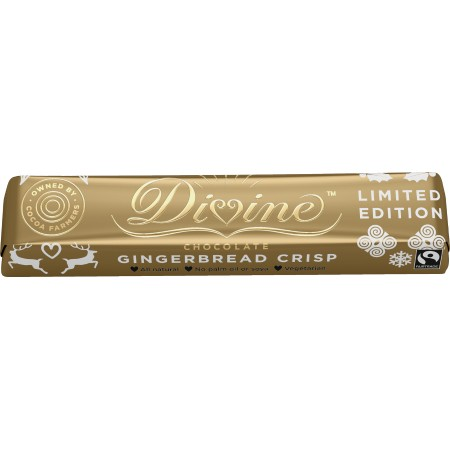 Divine Chocolate - Milk Chocolate Gingerbread Crisp Bar 30 x 35g