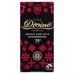 Divine Chocolate - 70% Dark chocolate with Raspberries - 15 x 90g