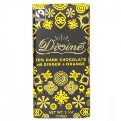 Divine Chocolate - 70% Dark Chocolate  With Ginger & Orange 15 x 100g