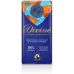 Divine Chocolate - 38% Milk Choc Salted Caramel - 15 x 90g