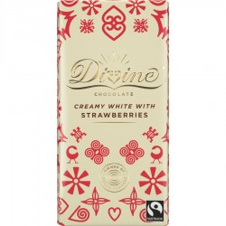 Divine Chocolate - White Chocolate With Strawberries - 15 x 90g
