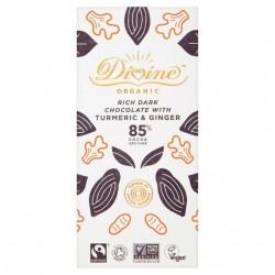 Divine Organic - 85% Dark Chocolate with Turmeric & Ginger - 10 x 80g