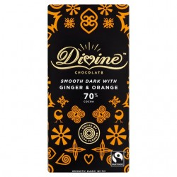 Divine Chocolate - 70% Dark Chocolate with Ginger & Orange - 15 x 90g