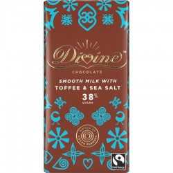 Divine Chocolate - 38% Milk Chocolate With Toffee & Sea Salt - 15 x 90g