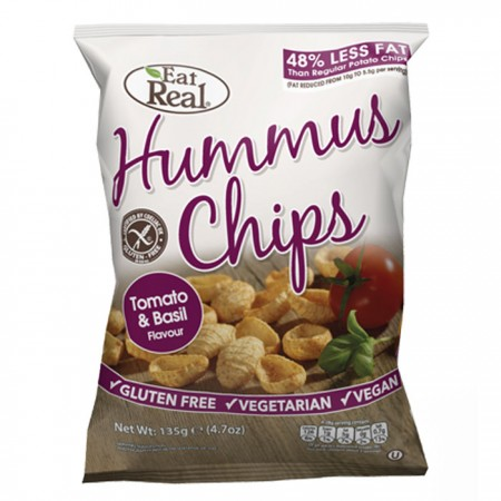 Eat Real Hummus Chips - Tomato & Basil - 12 x 45g