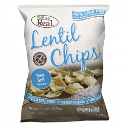 Eat Real Lentil Chips - Sea Salt Flavour - 10 x 113g