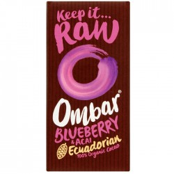 Ombar Organic Acai Blueberry Raw Chocolate | 10 x 35g
