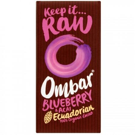 Ombar Organic Acai Blueberry Raw Chocolate | 10 x 35g