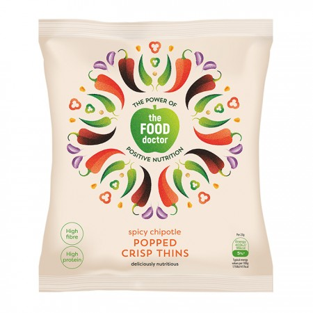 The Food Doctor | Spicy Chipotle Popped Crisp Thins - 10 x 23g