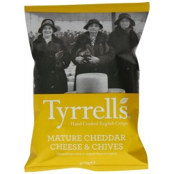 Tyrrells Cheddar Cheese & Chive Crisps 24 x 40g