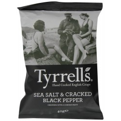 Tyrrells Sea Salt & Cracked Black Pepper Crisps 24 x 40g
