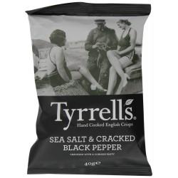 Tyrrells Sea Salt & Cracked Black Pepper Crisps 24 x 40g